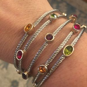 Silver multi gem cuff bracelet